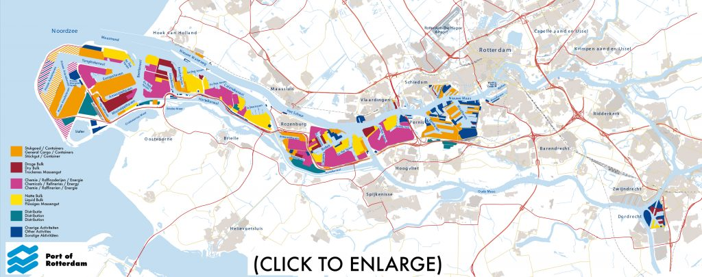 Map with segments Port of Rotterdam