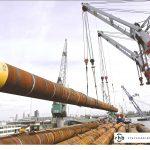 Steel piles loading