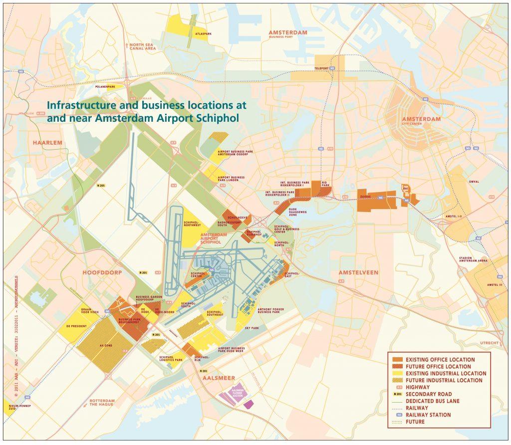 Map Amsterdam Schiphol