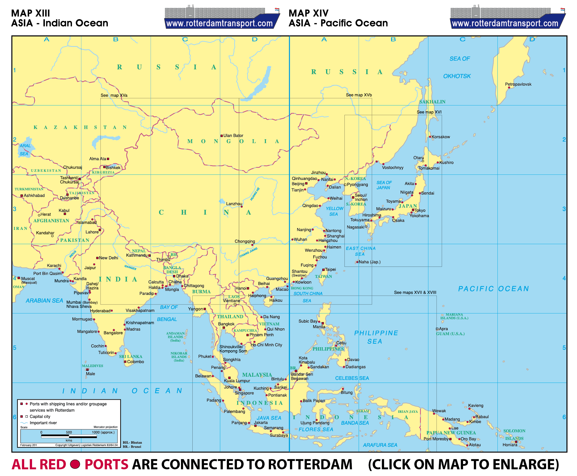 Map Of Asia Seas.Www Rotterdamtransport Com World Port Maps