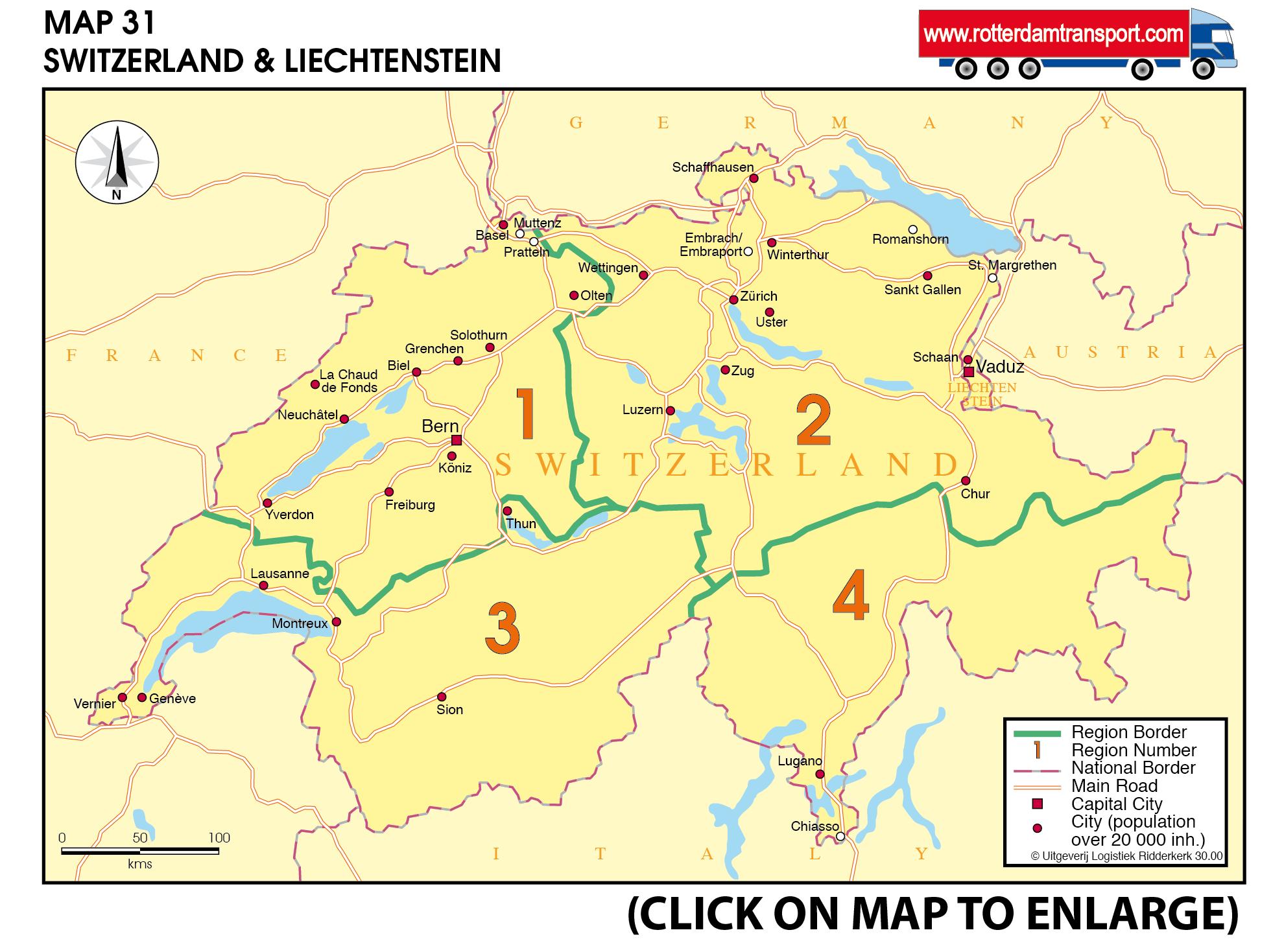 Wwwrotterdamtransportcom Maps Groupage By Road - Chur map