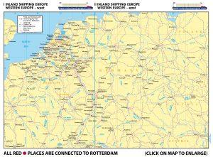 Map I - Inland Shipping Europe – Western Europe – West | Map II Inland Shipping - Western Europe – East