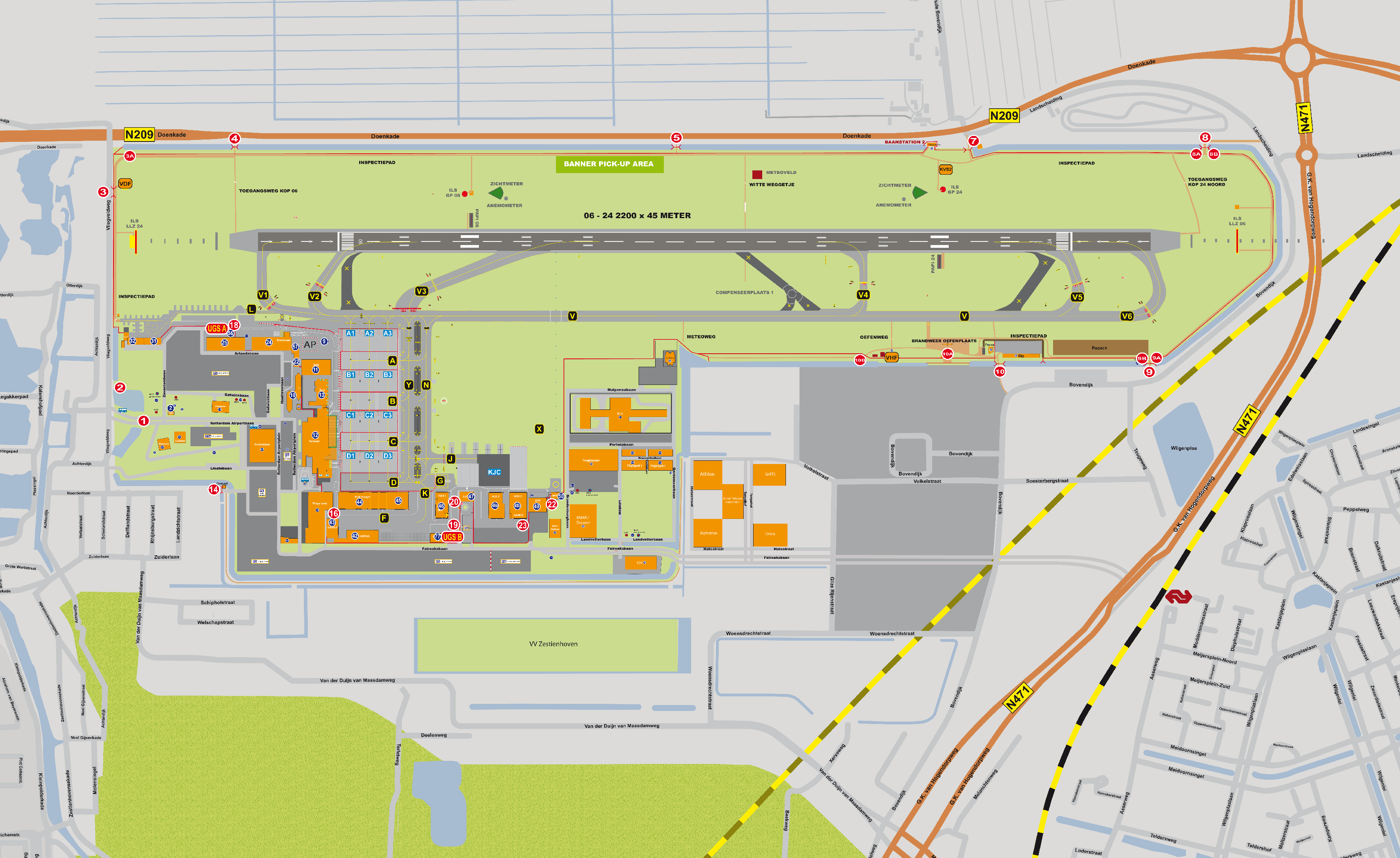 Rotterdam Airport Map .rotterdamtransport.  Airfreight   Map Rotterdam/The Hague