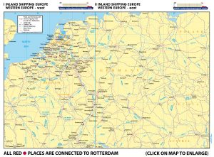 Map I - Inland Shipping Europe – Western Europe – West | Map II - Inland Shipping - Western Europe – East