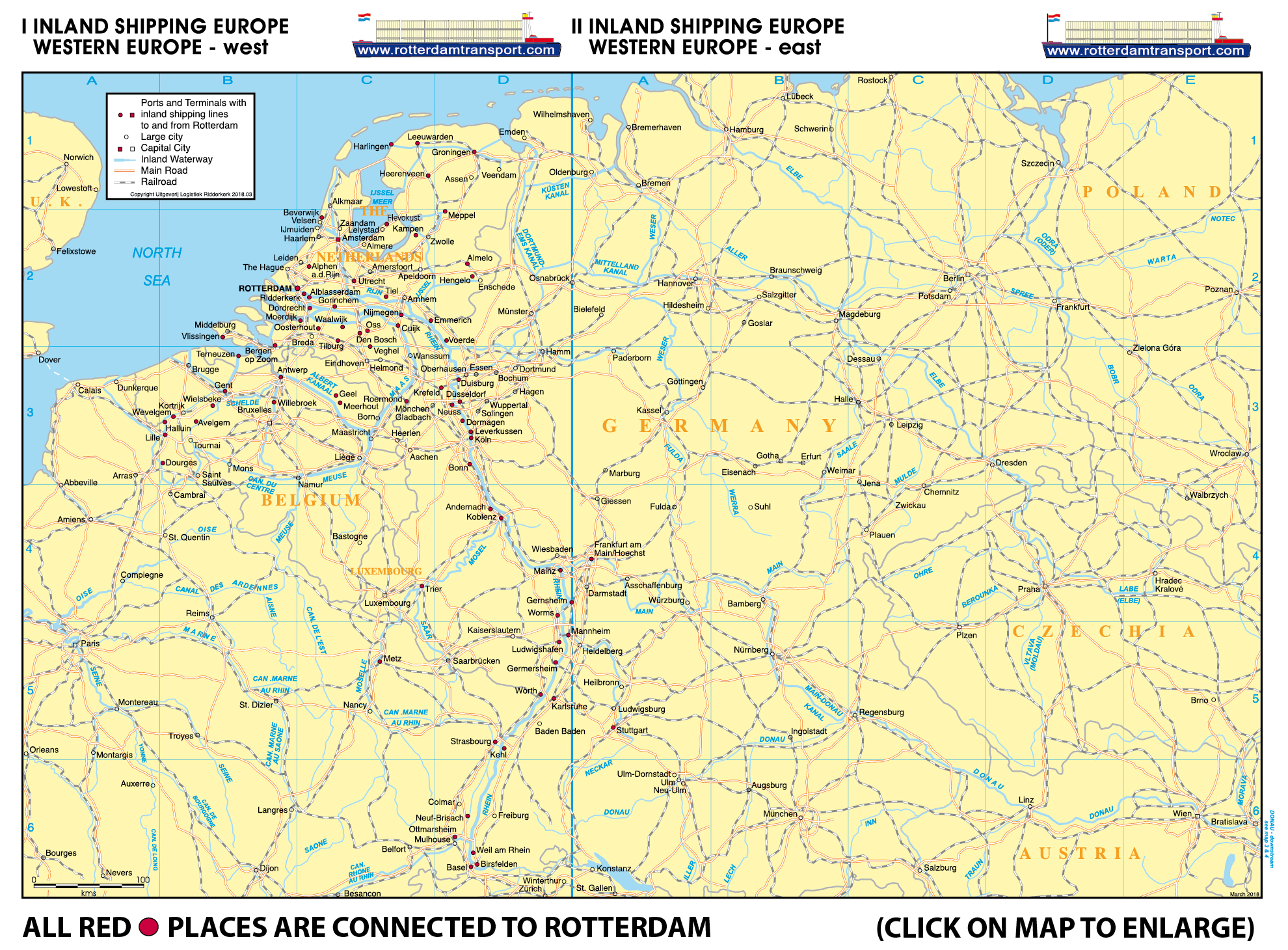 Www Rotterdamtransport Com Rhine Inland Shipping Country Maps