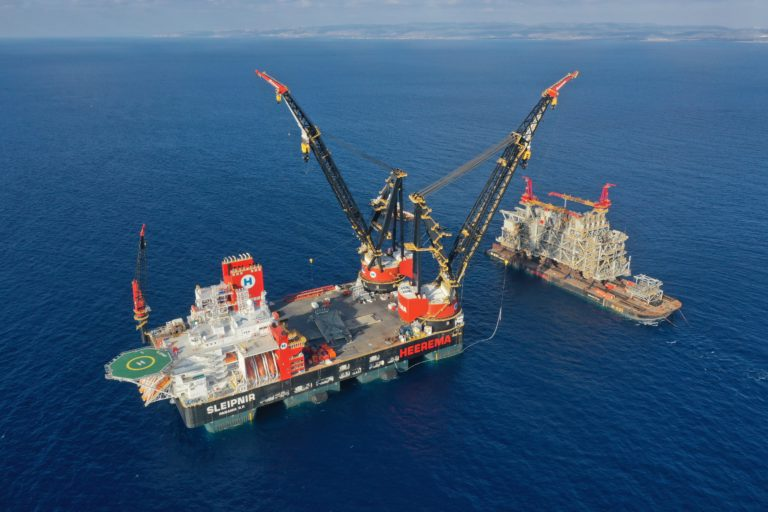 Sleipnir, the world's largest semi-submersible crane vessel. Sembcorp Marine, a Singaporean ship and offshore builder, completed the construction of Heerema's Sleipnir in July 2019. Since then, the vessel has been busy across the globe.(Photo: Heerema)