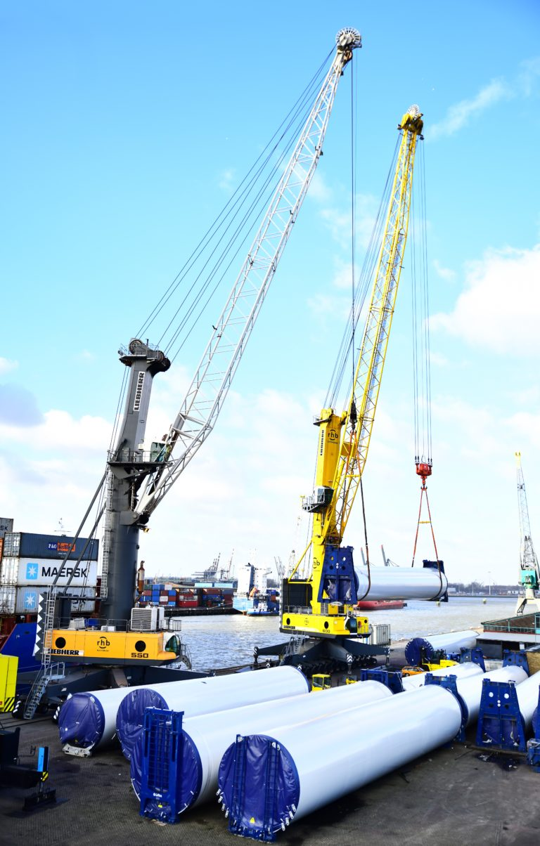Tandem Lifting LHM 550 + LHM 600 Rotterdam Heavy lift and Project Cargo Cranes RHB Stevedoring  & Warehousing