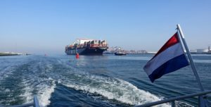 Container ship with Dutch flag, Location: Maasvlakte (Photo: Kees Torn)