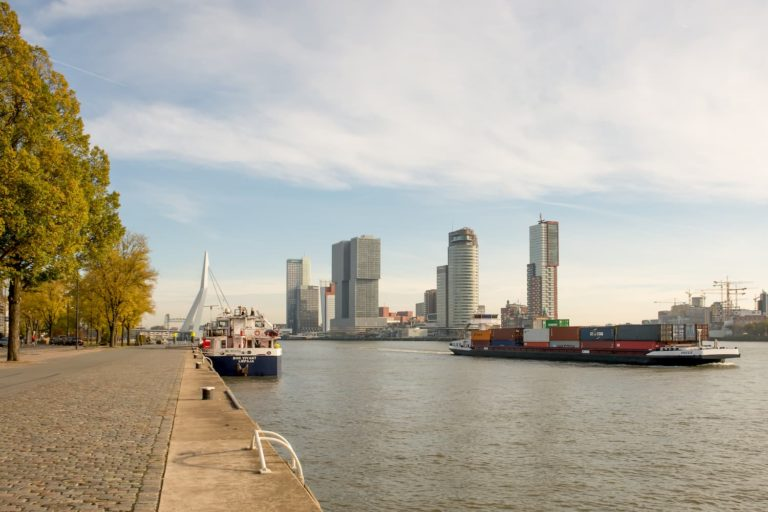 Skyline Rotterdam City,  Location:Wilhelminakade-Erasmusbrug, Rotterdam (Photo: Willem van Kasteren)