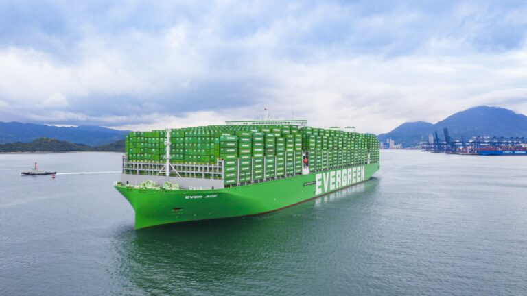 The vessel Ever Ace (IMO: 9893890) is a container vessel, built in 2021 and sails under the Panama flag. She is 399,9 m long and 61,53 m wide. Maximum TEU: 23.992. (Photo: Evergreen)